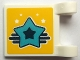 Part No: 2335pb176  Name: Flag 2 x 2 Square with Medium Azure Star with Black Center on Yellow Background Pattern (Sticker) - Set 41330