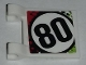 Part No: 2335pb184  Name: Flag 2 x 2 Square with Number 80 in Red, Black and Lime Pattern on Both Sides (Stickers) - Set 42065
