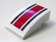 Part No: 24309pb007  Name: Slope, Curved 3 x 2 No Studs With Dark Bluish Gray and Red Stripes Pattern (Sticker) - Set 60145