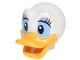 Part No: 24633pb02  Name: Minifigure, Head Modified Duck with Bright Light Orange Bill, Eyelashes and Lavender Eye Shadow Pattern (Daisy)