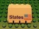 Part No: 2582pb05  Name: Hinge Panel 2 x 4 x 3 1/3 with 'States' and USA Flag Pattern (Sticker) - Set 1682