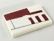Part No: 26603pb024L  Name: Tile 2 x 3 with Dark Red Biggs Left Wing Pattern 2 (Sticker) - Set 75218