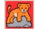 Part No: 2756pb089  Name: Duplo Tile 2 x 2 x 1 with Lion Mosaic Picture 17 Pattern (Set 1019)