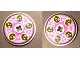 Part No: 2958pb021b  Name: Technic, Disk 3 x 3 with Black Cyber Heads on Purple Pattern on Both Sides  (Stickers) - Set 8257