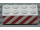Part No: 3001pb006  Name: Brick 2 x 4 with Angled Red Danger Stripes Pattern