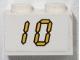 Part No: 3004pb137  Name: Brick 1 x 2 with Yellow Digital '10' on White Background Pattern (Sticker) - Set 3568