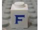 Part No: 3005ptFs  Name: Brick 1 x 1 with Blue 'F' Pattern (Serif Font)