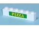 Part No: 3009pb121  Name: Brick 1 x 6 with Yellow 'PIZZA' on Green backgound Pattern (Sticker) - Set 7641