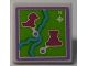 Part No: 30258pb055  Name: Road Sign Clip-on 2 x 2 Square with Map with River and Magenta Animals Pattern (Sticker) - Set 41038