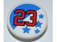 Part No: 30261pb014  Name: Road Sign Clip-on 2 x 2 Round with Red Number 23 and Blue Stars Pattern (Sticker) - Set 8125