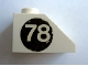 Part No: 3040apb02L  Name: Slope 45 2 x 1 with White '78' on Black Circle Pattern Left (Sticker) - Set 619