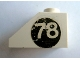Part No: 3040apb02R  Name: Slope 45 2 x 1 with White '78' on Black Circle Pattern Right (Sticker) - Set 619