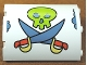 Part No: 30562pb020  Name: Cylinder Quarter 4 x 4 x 6 with Lime Skull and Medium Blue Crossed Swords Pattern