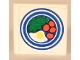 Part No: 3068apb04  Name: Tile 2 x 2 with Blue Circle Plate, Fried Egg, 4 Red Spots Pattern (Sticker) - Set 269