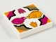 Part No: 3068bpb0056  Name: Tile 2 x 2 with Bird, Fish, Flowers in Quatrefoil Magenta/Gold/Medium Orange Pattern