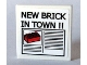 Part No: 3068bpb0156  Name: Tile 2 x 2 with Groove with Newspaper 'NEW BRICK IN TOWN !!' Headline Pattern (Sticker) - Set 10184