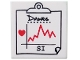 Part No: 3068bpb0311  Name: Tile 2 x 2 with Black 'Dawes' and 'SI' and Red Heart and Jagged Line on Medical Chart Clipboard Pattern