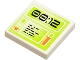 Part No: 3068bpb0396  Name: Tile 2 x 2 with Lime Screen with '00:12' Pattern (Sticker) - Set 8637