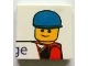 Part No: 3068bpb0608  Name: Tile 2 x 2 with Minifigure Head with Blue Cap and 'ge' Pattern