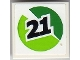 Part No: 3068bpb0638R  Name: Tile 2 x 2 with Black '21' on Green and Lime Circle Pattern Model Right (Sticker) - Set 8899