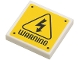 Part No: 3068bpb0685  Name: Tile 2 x 2 with Electricity Danger Sign, 'WARNING' and Rivets Pattern (Sticker) - Set 75920