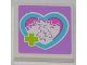 Part No: 3068bpb0753  Name: Tile 2 x 2 with Lime Cross and Hedgehog in Medium Azure Heart Pattern (Sticker) - Set 3188