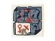 Part No: 3068bpb0946  Name: Tile 2 x 2 with Map Tattered with Paper Clip and Red Key and 'X' Pattern