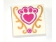Part No: 3068bpb0980  Name: Tile 2 x 2 with Magenta Jewel and Paw Print with Heart and Gold Decorations Pattern