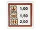 Part No: 3068bpb1029  Name: Tile 2 x 2 with Sign with Stamps and Prices '1,00 1,50 2,00' Pattern (Sticker) - Set 10222