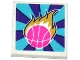Part No: 3068bpb1048  Name: Tile 2 x 2 with Dark Pink Basketball and Gold Flames Pattern (Sticker) - Set 41127