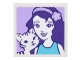 Part No: 3068bpb1067  Name: Tile 2 x 2 with Portrait of Female with Headband with Flower and Black and White Striped Cat Pattern (Sticker) - Set 41305