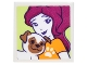 Part No: 3068bpb1068  Name: Tile 2 x 2 with Portrait of Female with Paw Print T-shirt and Brown and White Pug Pattern (Sticker) - Set 41305