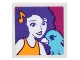 Part No: 3068bpb1069  Name: Tile 2 x 2 with Portrait of Female with Musical Note Barrette and Medium Azure Bird Pattern (Sticker) - Set 41305