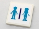 Part No: 3068bpb1084  Name: Tile 2 x 2 with Groove with Medium Azure Mini Doll Male and Female Silhouettes Dressing Room Pattern (Sticker) - Set 41313