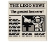 Part No: 3068bpb1105  Name: Tile 2 x 2 with Newspaper 'THE LEGO NEWS' and 'The greatest hero ever!' Pattern
