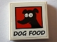 Part No: 3068bpb1174  Name: Tile 2 x 2 with Black 'DOG FOOD' and Black Dog Image on Red Background Pattern (Sticker) - Set 71016