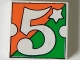 Lot ID: 142847113  Part No: 3068pb33  Name: Tile 2 x 2 with Number  5 Fabuland Orange/Green Background Pattern