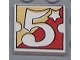 Part No: 3068pb34  Name: Tile 2 x 2 with Number  5 Fabuland Yellow/Red Background Pattern