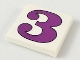 Part No: 3068pb43  Name: Tile 2 x 2 with Number  3 Purple Pattern