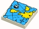 Part No: 3068px9  Name: Tile 2 x 2 with Map Blue Water, Yellow Land and Black 'X' Pattern