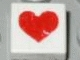 Lot ID: 142035250  Part No: 3070bpx23  Name: Tile 1 x 1 with Groove with Red Heart Pattern