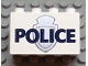 Part No: 31111pb023  Name: Duplo, Brick 2 x 4 x 2 with 'POLICE' over Silver Badge Pattern
