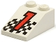 Part No: 3298pb003  Name: Slope 33 3 x 2 with Red Number 1 and Checkered Flag Pattern