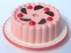 Part No: 33013pb02  Name: Cake with Red Cherries and Chocolate Wedges and Pink Frosting Pattern