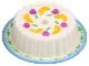 Part No: 33013pb03  Name: Cake with Dark Pink Cherries and Oranges, Medium Blue Rim Pattern