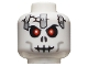 Part No: 3626bpb0549  Name: Minifigure, Head Skull Cracked with Metal Plates Pattern - Blocked Open Stud