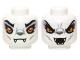 Part No: 3626cpb0973  Name: Minifig, Head Dual Sided Alien Chima Wolf with Yellow Eyes and Lavender Eye Shadow, Closed Mouth / Open Mouth Pattern (Windra) - Stud Recessed