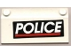 Part No: 3939pb01  Name: Slope 33 3 x 6 with White 'POLICE' Red Line on Black Background Pattern (Sticker) - Set 4012