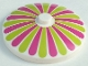 Part No: 3960pb027  Name: Dish 4 x 4 Inverted (Radar) with Solid Stud with Stripes Lime/Magenta Petals Pattern
