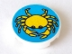 Part No: 4150px14  Name: Tile, Round 2 x 2 with Blue Background and Yellow Crab Pattern